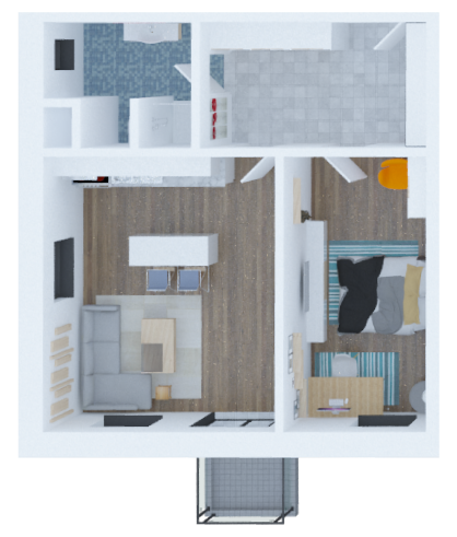 vizualizace půdorysu aprtmánu 2 + Küchenecke