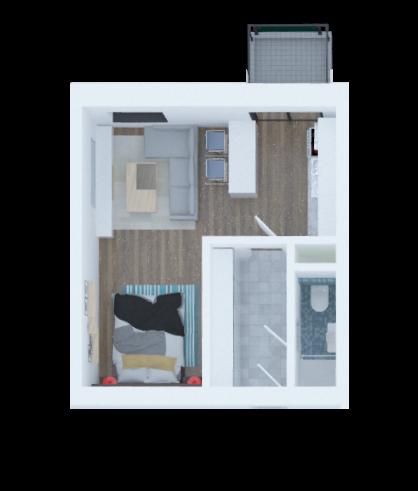 vizualizace půdorysu aprtmánu 1 + a kitchen nook