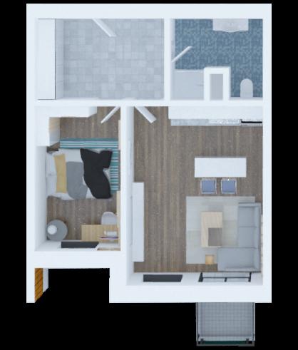 vizualizace půdorysu aprtmánu 2 + a kitchen nook